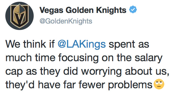Vegas Golden Knights mock L A  Kings' poor cap management during