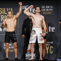 Aaron Pico and Zach Freeman pose at Bellator NYC weigh-ins.