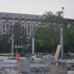 A few columns are all that remain of the building.