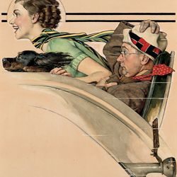 """<a href=""""http://lucasmuseum.org/collection/category/illustration#"""">Norman Rockwell's</a><a href=""""http://lucasmuseum.org/works/detail/asset_id/265"""">Couple in Rumbleseat (c. 1935)</a>"""