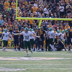 Eastern Michigan celebrating after a nice goal line stand.<br>