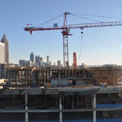 The view south, across the roof of the new NCR headquarters, from the 29th floor rooftop lounge.