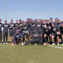 Revolution players and staff show support for the Patriots ahead of Super Bowl 51.