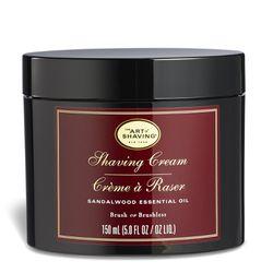 "Art of Shaving <a href=""https://www.amazon.com/Art-Shaving-Cream-Sandalwood-fl/dp/B000FGWU0W/ref=sr_1_11_s_it"">Sandalwood Shave Cream</a>, $25"