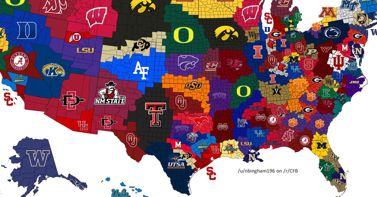 2017 College Football Map What If Each Winner Took Its
