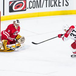 Jeremy Helvig stops Warren Foegele in the shootout round. July 1, 2017. Carolina Hurricanes Summerfest and Development Camp, PNC Arena, Raleigh, NC. Copyright © 2017 Jamie Kellner. All Rights Reserved.