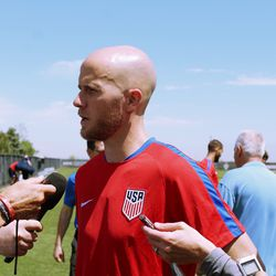 Michael Bradley talked to the press after practice.