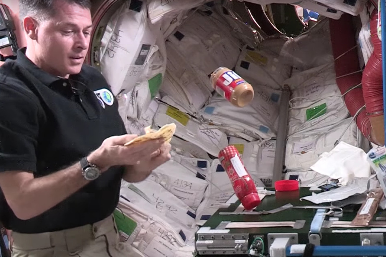 In space, making peanut butter and jelly is a tiny adventure