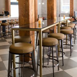 Family-style tables create a communal, social house vibe at NOSH
