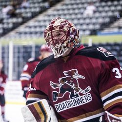 <strong>Adin Hill </strong>chuckles a bit during warm-ups