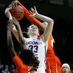 UConn's Katie Lou Samuelson (33) gets fouled.