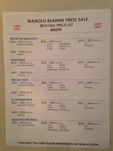manolo blahnik sample sale nyc 2014