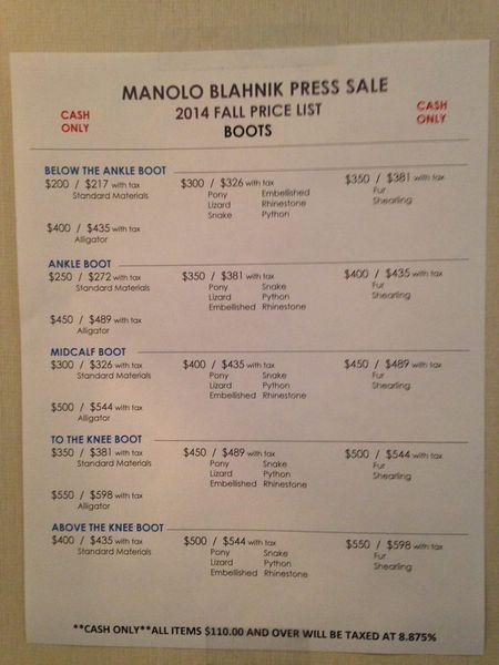 manolo blahnik sample sale warwick hotel