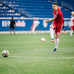First-team regular Alex Muyl was one of several players from RBNY's MLS squad loaned down to NYRB II for the game