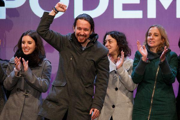 Podemos leader Pablo Iglesias celebrates his party's gains.