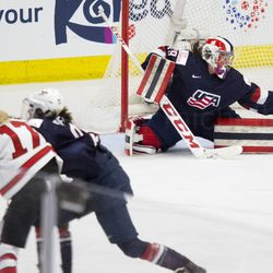 Team USA goaltender Nicole Hensley makes a save.