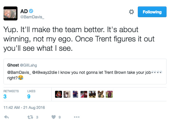 Jerseys NFL Cheap - Anthony Davis tweets about right tackle competition with Trent ...