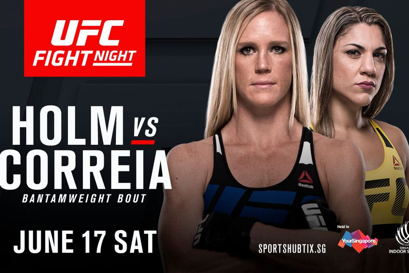 community news, Latest UFC Fight Night 111 fight card, rumors, and updates for 'Holm vs Correia' on June 17 in Singapore