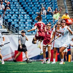 Sam Apuzzo and Kenzie Kent celebrate BC's first goal