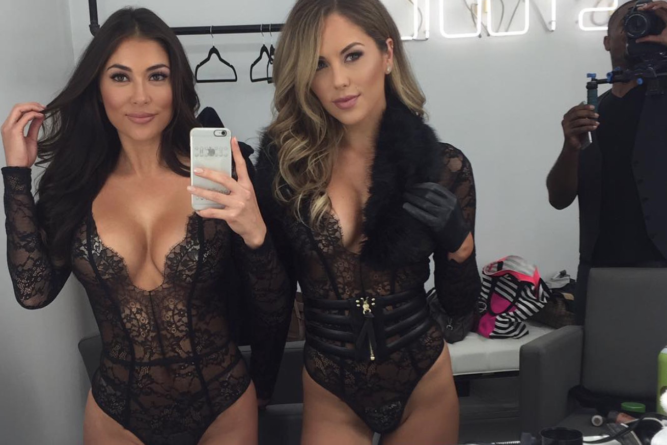 Video: UFC gals Arianny Celeste, Brittney Palmer play touch butt in latest lingerie photo shoot