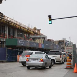Northbound traffic backed up, due to work being done on Clark Street