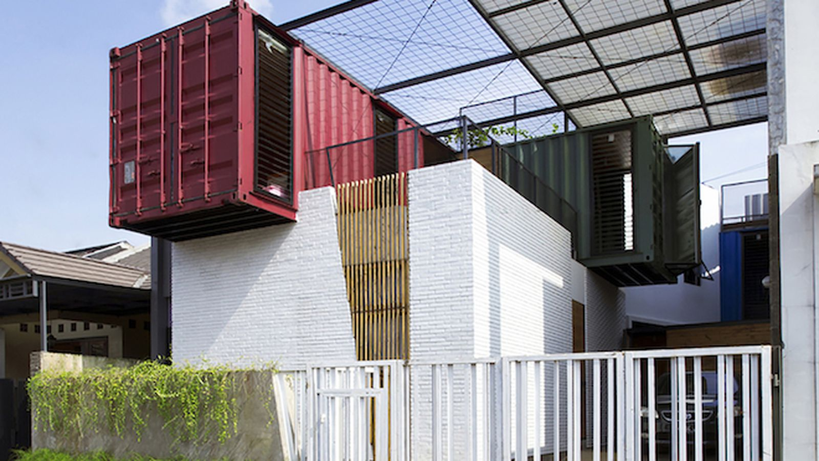 Four shipping containers top this rad tropical home curbed - Shipping container homes chicago ...
