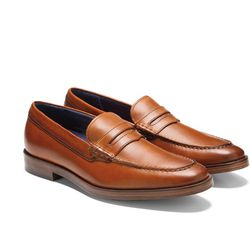 """Cole Haan<a href=""""http://www.colehaan.com/hamilton-grand-penny-loafer-british-tan-leather/C25070.html?dwvar_C25070_color=British%20Tan%20Leather&dwvar_C25070_width=#cgid=mens_shoes_loafersdrivers&start=1"""">Hamilton Grand Penny Loafer</a>, $280"""