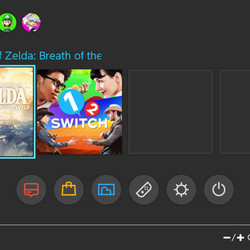 Here's the Nintendo Switch home menu. Notice the English-language text.