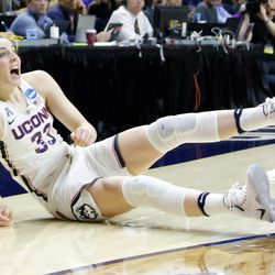 UConn's Katie Lou Samuelson (33) reacts after being fouled on a three-pointer.<br>