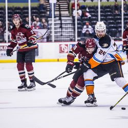 Morin battles for the puck as MacInnis looks on