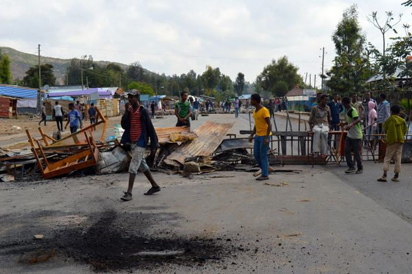 A roadblock during an earlier Oromo protest in Ethiopia.