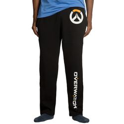 """These relaxed fit <a href=""""https://www.jinx.com/p/overwatch_logo_lounge_pants.html""""><em>Overwatch</em> lounge pants</a> are pretty simple, and look very comfy. $24.99."""