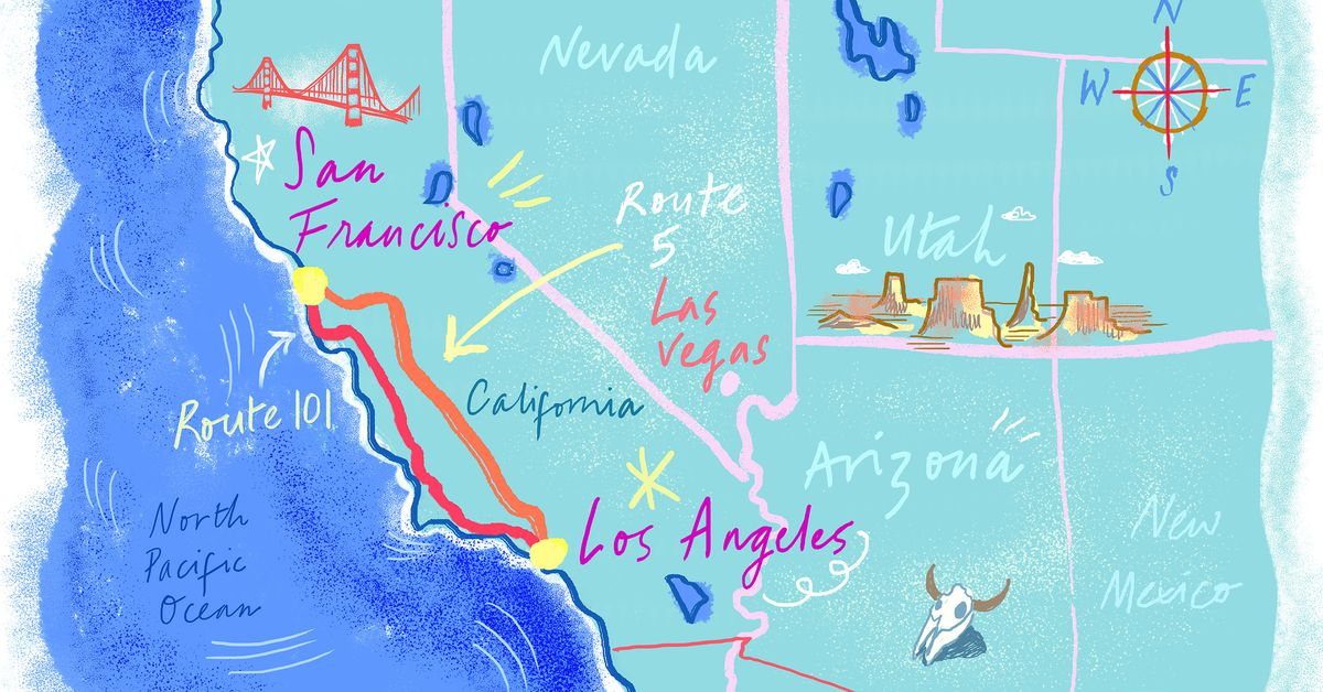 San Francisco To Los Angeles Map.Where To Eat Along The Pch And I 5 Between Sf And La