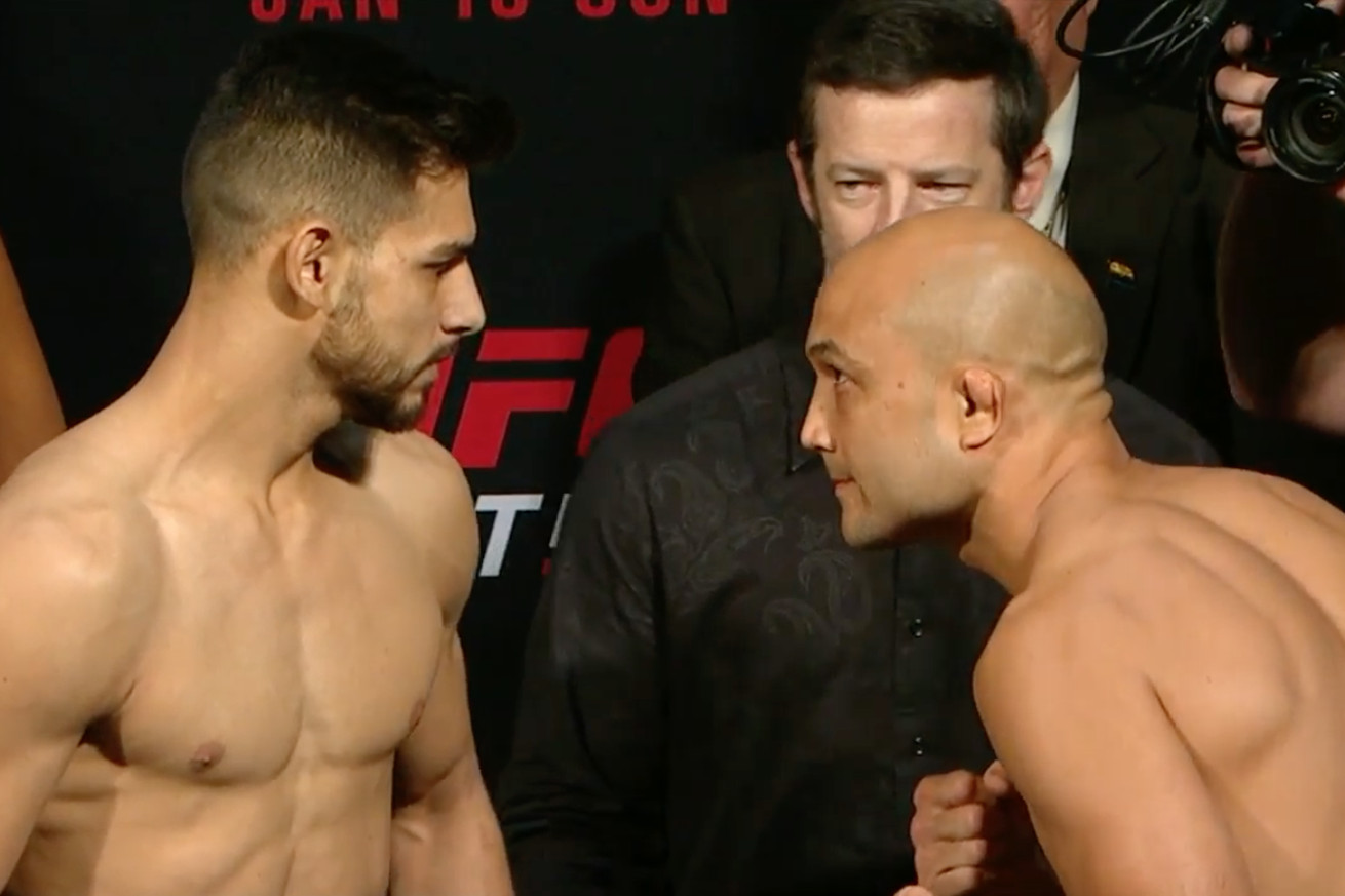 Yair Rodriguez vs BJ Penn staredown pic, video from UFC Phoenix weigh ins