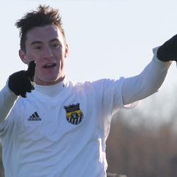 Gabe Ivins celebrates his 68th minute goal