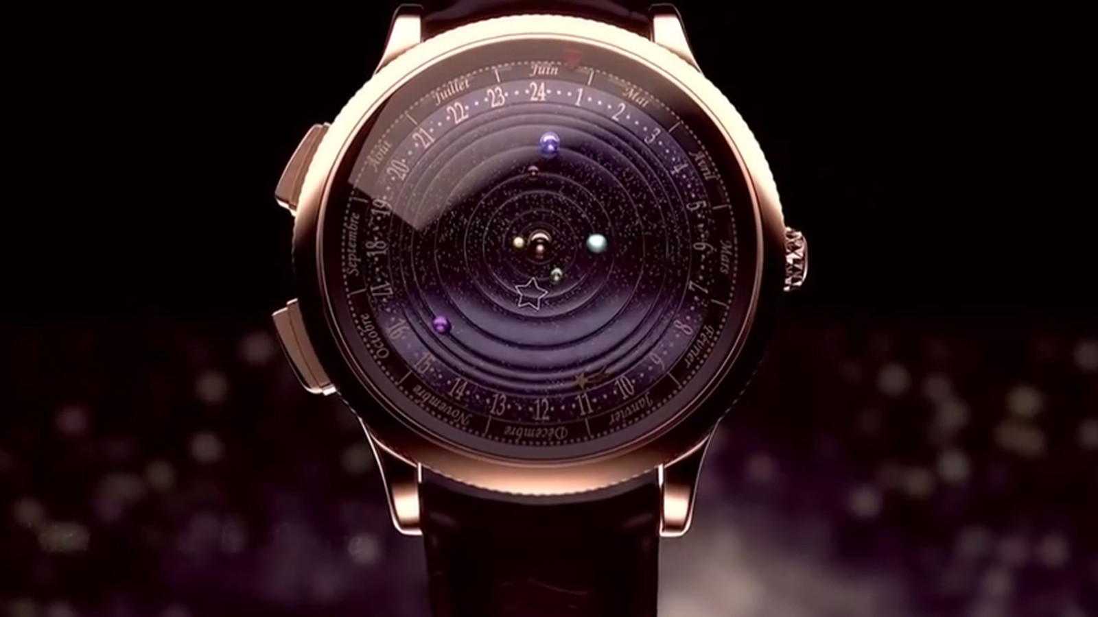 planets rotating wrist watch -#main