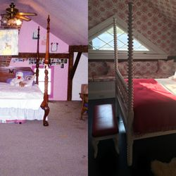 The attic bedroom, before and after renovation.