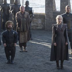 Daenerys rolls deep with (left to right) Missandei, Tyrion, Varys and Grey Worm.
