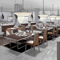 A rendering of the on-site restaurant.
