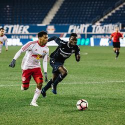 Active and inventive on the ball: Lewis enhanced his reputation in NYRB II's 1-0 loss to Harrisburg.
