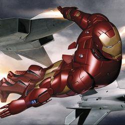 ADI GRANOV Iron Man study, flight with jets / Concept art for Iron Man 2008<br> © 2017 MARVEL<br><br><br><br>
