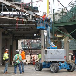 A view of the work to restore the right field corner, at Gate R/Construction Gate 8.5