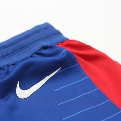 """View of the Nike swoosh on the shorts of the Clippers' new blue """"Icon edition"""" jersey."""