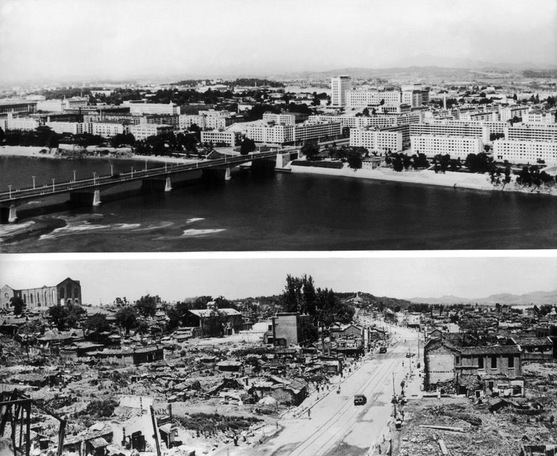 The North Korean capital of Pyongyang. At bottom, the city in 1953, after an estimated 75% of it was destroyed by US bombing. At top, the city in 1964 after reconstruction. (Keystone-France/Gamma-Keystone via Getty)