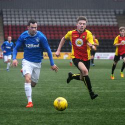 Ross Lyon drives forward during Rangers' 3-2 win over Partick Thistle