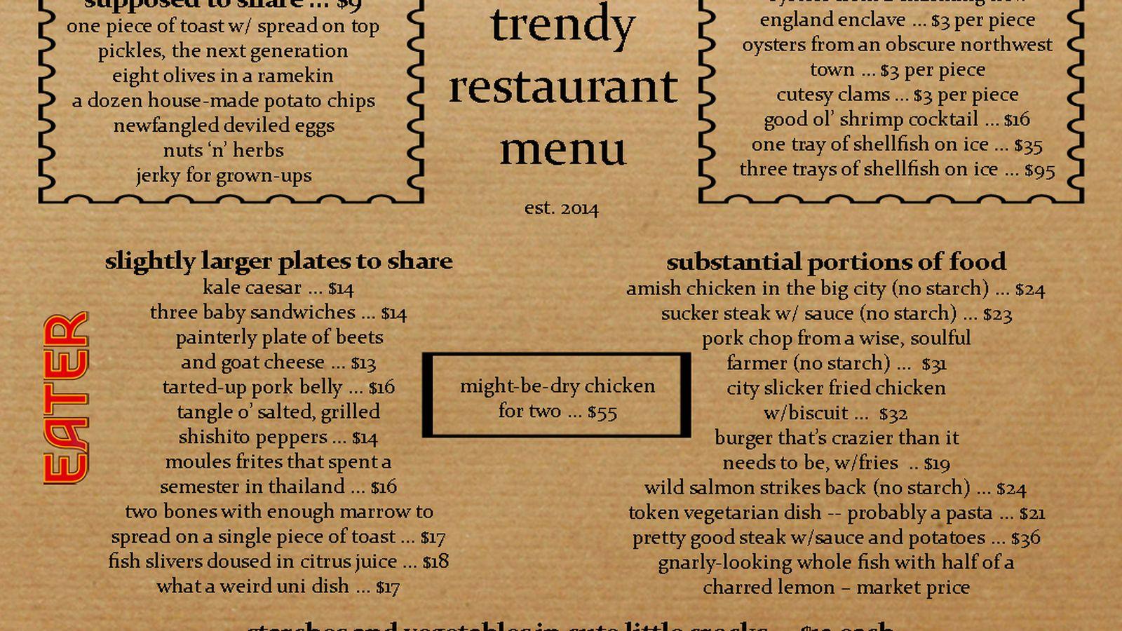Here 39 S What Every Trendy Restaurant Menu Looks Like Eater