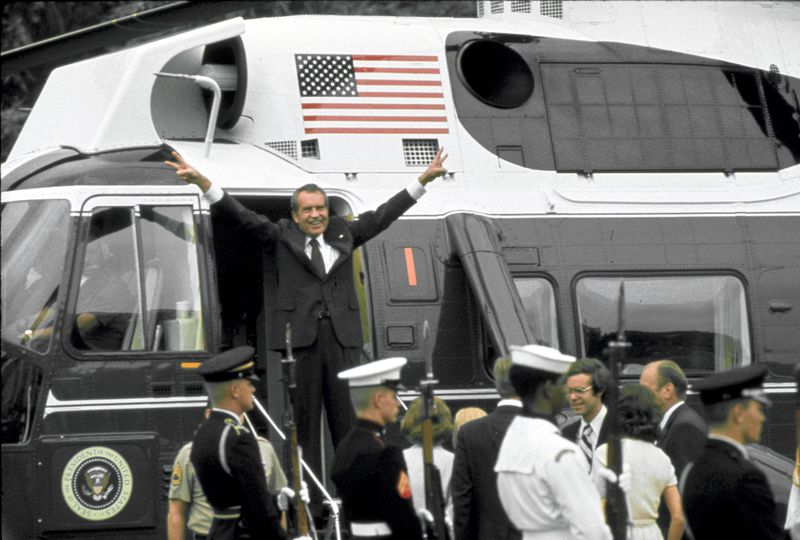 Nixon leaves the White House in 1974