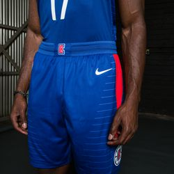 """Lower angled view of the Clippers' new """"Icon Edition"""" blue jersey designed by Nike.  The red stripe on the left thigh represents the traditional red nautical lighting on the port side of ships."""