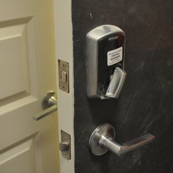 The smart locks can be opened by an iPhone app.