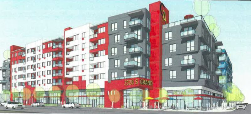 Rendering of red and gray side of building